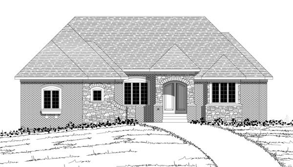 European House Plan 42605 with 3 Beds, 4 Baths, 3 Car Garage Picture 1