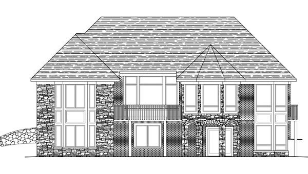 European House Plan 42605 with 3 Beds, 4 Baths, 3 Car Garage Rear Elevation