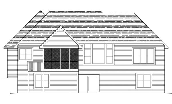 European House Plan 42607 with 3 Beds, 3 Baths, 2 Car Garage Rear Elevation