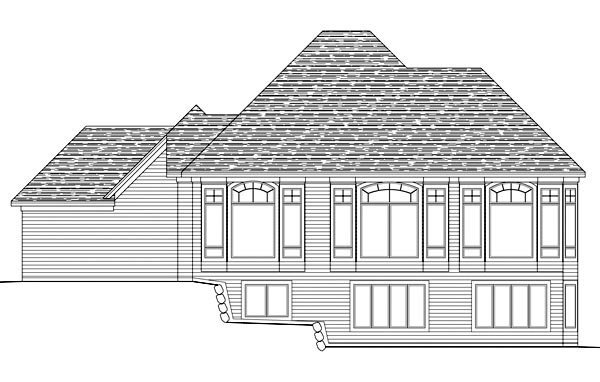 European House Plan 42608 Rear Elevation