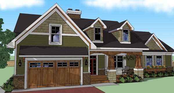 Craftsman House Plan 42614 Elevation