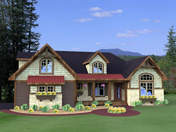 House Plan 42615 | Craftsman Style Plan with 2202 Sq Ft, 3 Bedrooms, 4 Bathrooms, 2 Car Garage Elevation