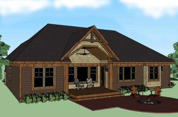 House Plan 42615 | Craftsman Style Plan with 2202 Sq Ft, 3 Bedrooms, 4 Bathrooms, 2 Car Garage Rear Elevation