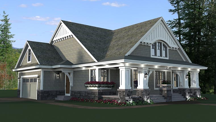 Bungalow cottage craftsman traditional house plan 42618 for Craftsman bungalow house plans