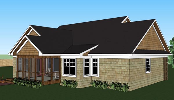 House Plan 42620 | Traditional Style Plan with 2244 Sq Ft, 3 Bedrooms, 2 Bathrooms, 2 Car Garage Rear Elevation
