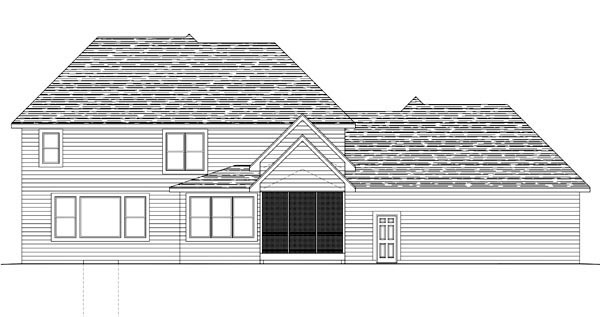 House Plan 42633 with 4 Beds, 3 Baths, 3 Car Garage Rear Elevation