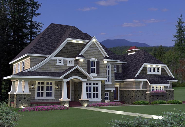House Plan 42640 | Style Plan with 3883 Sq Ft, 4 Bedrooms, 4 Bathrooms, 3 Car Garage Elevation