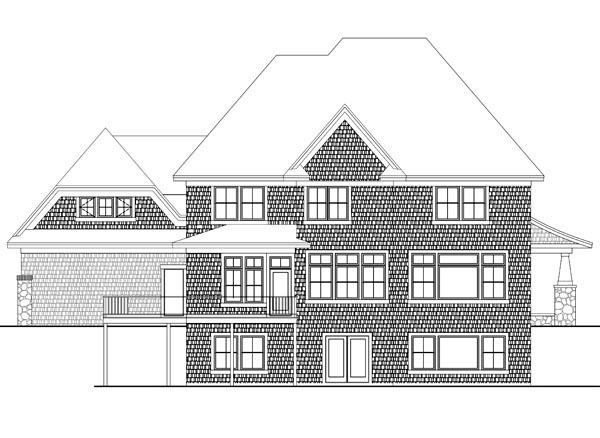 House Plan 42640 | Style Plan with 3883 Sq Ft, 4 Bedrooms, 4 Bathrooms, 3 Car Garage Rear Elevation