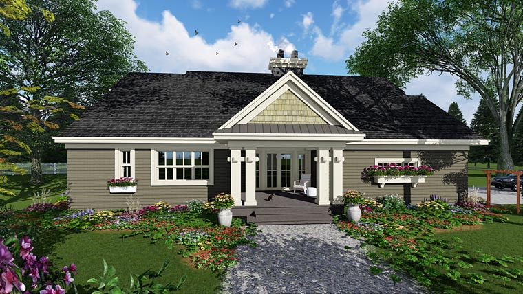 House Plan 42653 | Craftsman Style House Plan with 2322 Sq Ft, 3 Bed, 3 Bath, 2 Car Garage Rear Elevation