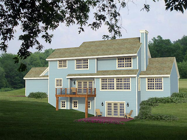 House Plan 42654 with 4 Beds, 3 Baths, 3 Car Garage Rear Elevation