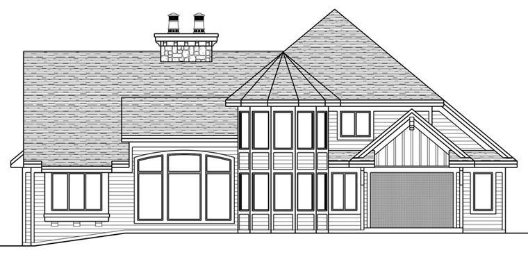 House Plan 42657 with 4 Beds, 4 Baths, 3 Car Garage Rear Elevation