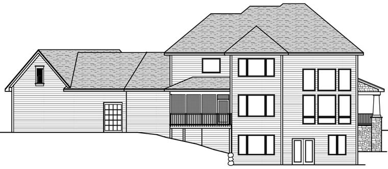 House Plan 42667 with 4 Beds, 4 Baths, 3 Car Garage Rear Elevation