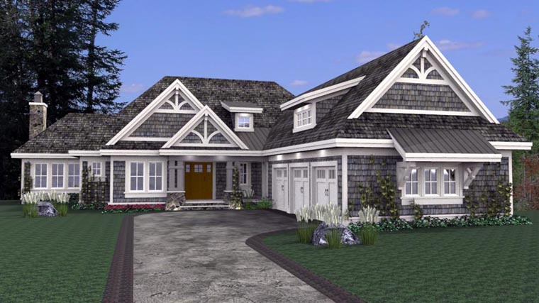 House Plan 42668 with 3 Beds, 4 Baths, 3 Car Garage Front Elevation