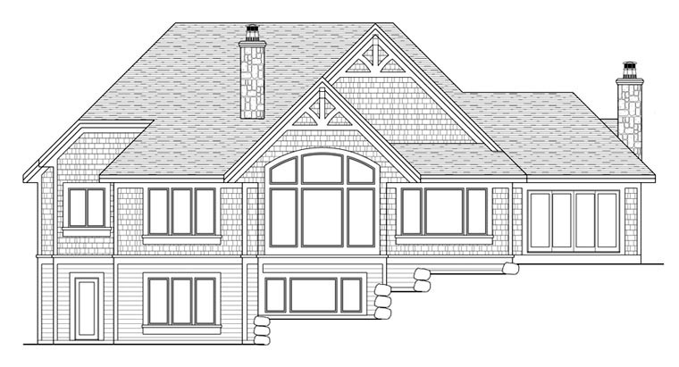 House Plan 42668 with 3 Beds, 4 Baths, 3 Car Garage Rear Elevation
