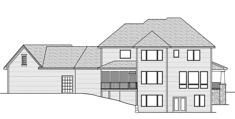 House Plan 42669 with 5 Beds, 5 Baths, 3 Car Garage Rear Elevation