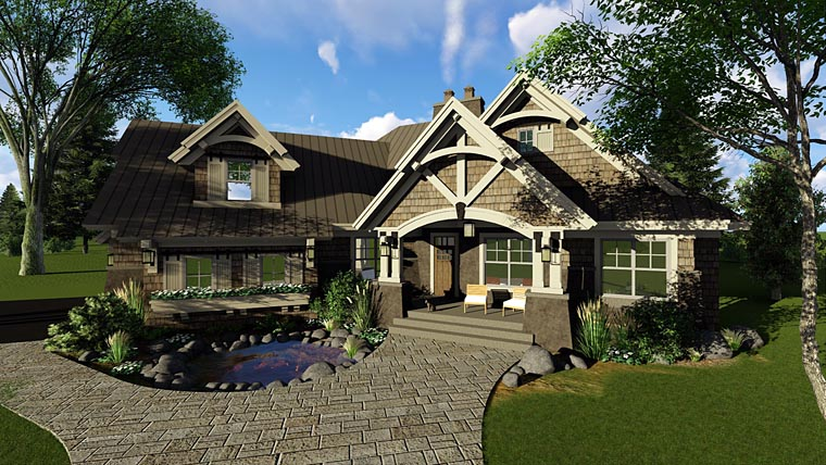 Bungalow , Cottage , Craftsman , Tudor House Plan 42675 with 3 Beds, 3 Baths, 2 Car Garage Elevation