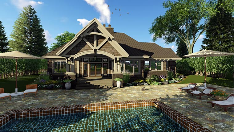 Bungalow , Cottage , Craftsman , Tudor House Plan 42675 with 3 Beds, 3 Baths, 2 Car Garage Rear Elevation
