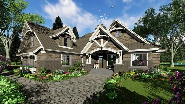 Bungalow , Cottage , Craftsman , French Country , Tudor House Plan 42676 with 4 Beds, 3 Baths, 2 Car Garage Elevation