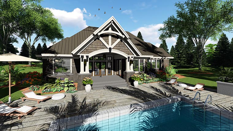 Bungalow , Cottage , Craftsman , French Country , Tudor House Plan 42676 with 4 Beds, 3 Baths, 2 Car Garage Rear Elevation
