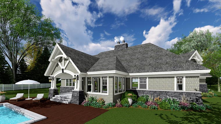 Cottage Craftsman Tudor House Plan 42678 Rear Elevation