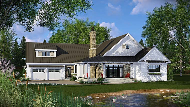 Country , Farmhouse , French Country , Traditional House Plan 42682 with 3 Beds, 3 Baths, 2 Car Garage Elevation