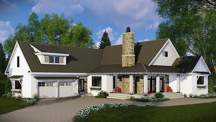Country , Farmhouse , French Country , Traditional House Plan 42682 with 3 Beds, 3 Baths, 2 Car Garage Rear Elevation