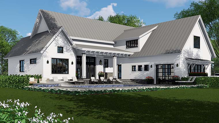House Plan 42687 | Country Farmhouse Southern Traditional Style Plan with 2886 Sq Ft, 4 Bedrooms, 5 Bathrooms, 3 Car Garage Rear Elevation