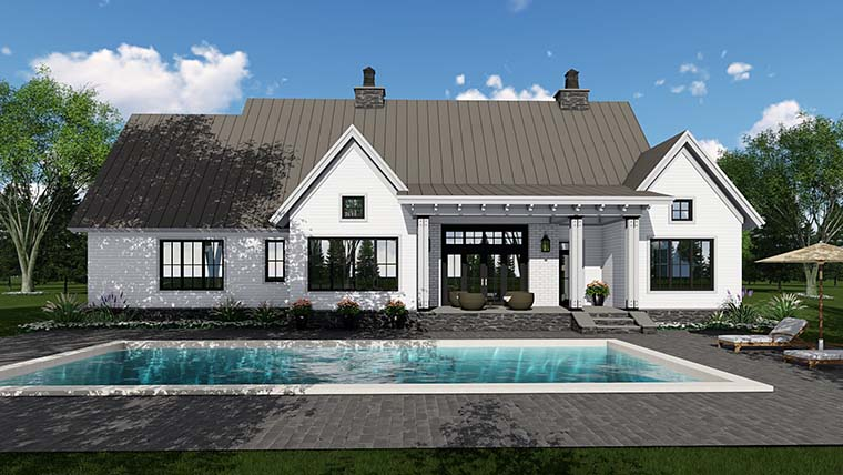 Country Farmhouse Southern Traditional House Plan 42688 Rear Elevation