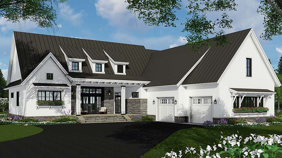 Bungalow, Cottage, Craftsman, Ranch House Plan 42689 with 3 Beds, 3 Baths, 2 Car Garage Front Elevation