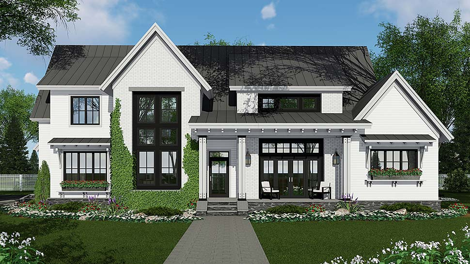 Country , Farmhouse , Traditional House Plan 42690 with 4 Beds, 3 Baths, 2 Car Garage Elevation