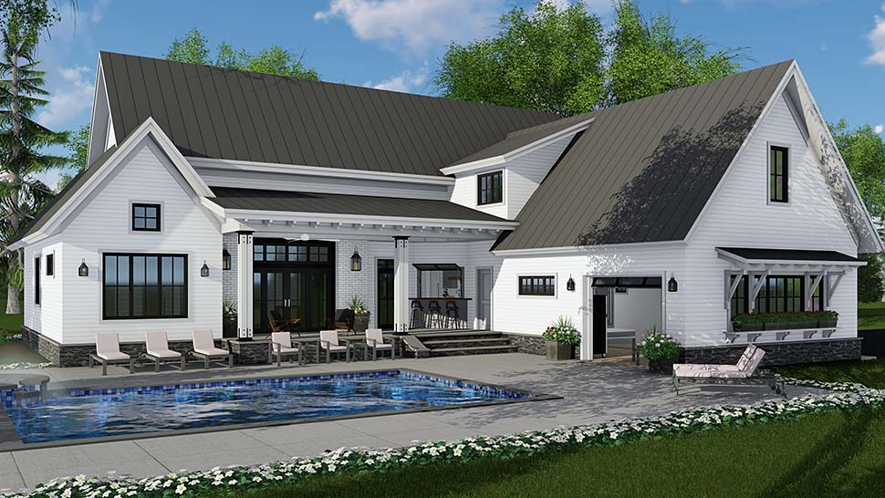 Country , Farmhouse , Traditional House Plan 42690 with 4 Beds, 3 Baths, 2 Car Garage Rear Elevation