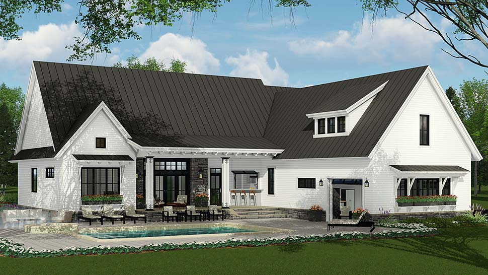 Country Farmhouse Traditional Rear Elevation of Plan 42691