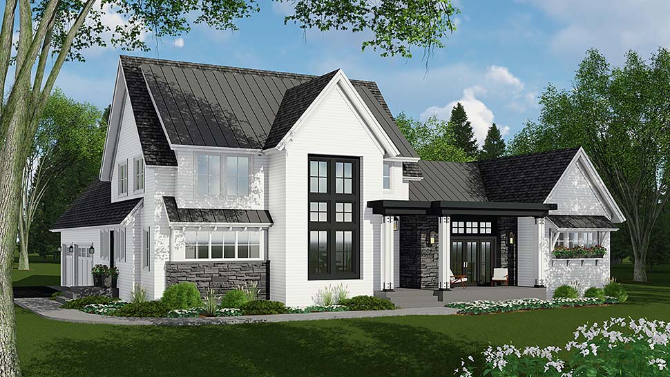 Country , Farmhouse House Plan 42693 with 4 Beds, 4 Baths, 3 Car Garage Elevation