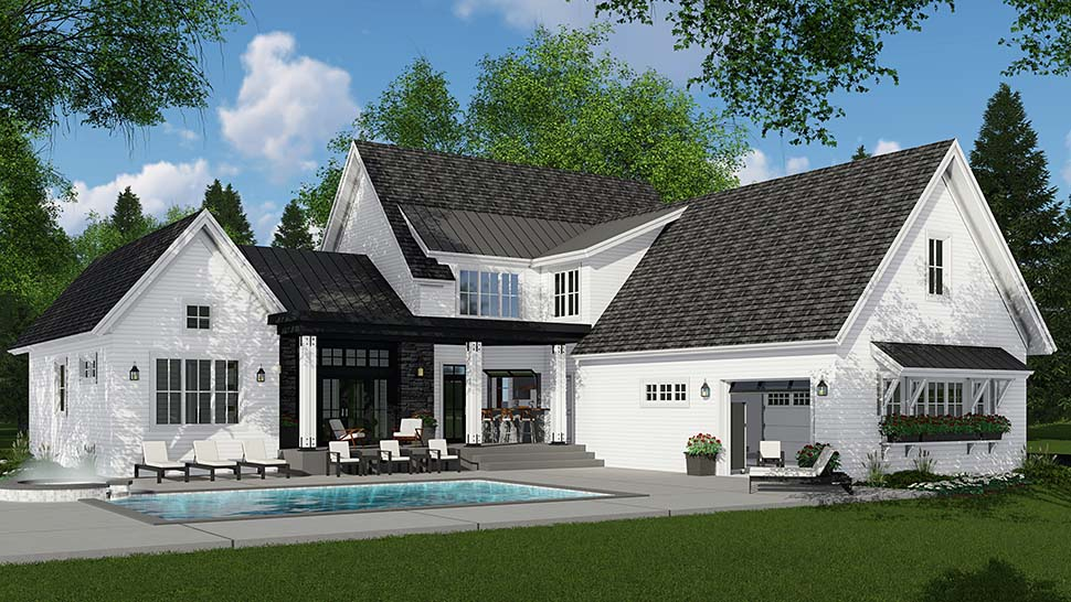 Country , Farmhouse House Plan 42693 with 4 Beds, 4 Baths, 3 Car Garage Rear Elevation