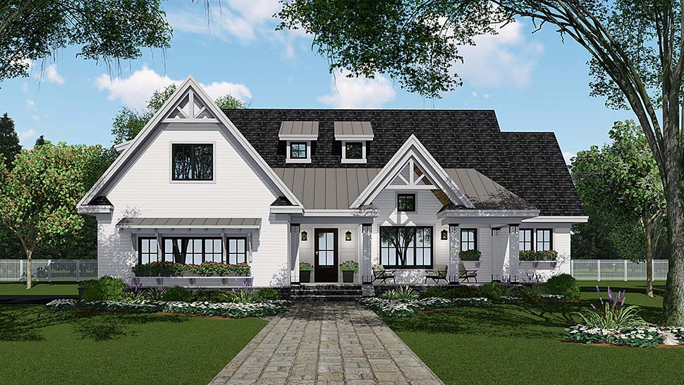 Bungalow, Country, Craftsman, Farmhouse, Traditional House Plan 42694 with 4 Beds, 4 Baths, 2 Car Garage Elevation