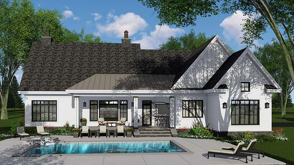 Country , Craftsman , Farmhouse , Traditional House Plan 42695 with 3 Beds, 3 Baths, 2 Car Garage Rear Elevation