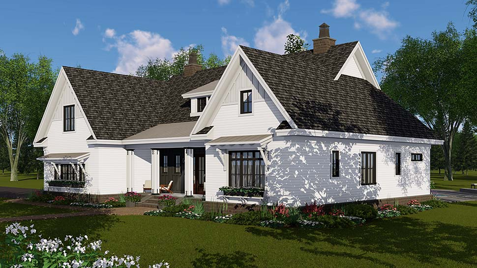 House Plan 42697 | Country Craftsman Farmhouse Style Plan with 2514 Sq Ft, 4 Bedrooms, 4 Bathrooms, 2 Car Garage