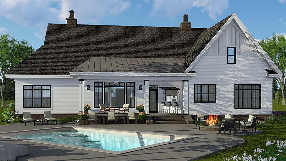 House Plan 42697 | Country Craftsman Farmhouse Style Plan with 2514 Sq Ft, 4 Bed, 4 Bath, 2 Car Garage Rear Elevation