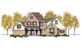 House Plan 42807 | European Traditional Style Plan with 3739 Sq Ft, 3 Bedrooms, 5 Bathrooms, 2 Car Garage Elevation