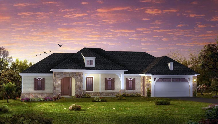 European Ranch Traditional House Plan 42811 Elevation