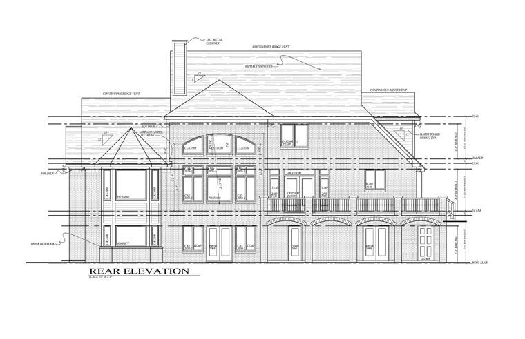 Colonial European House Plan 42814 Rear Elevation