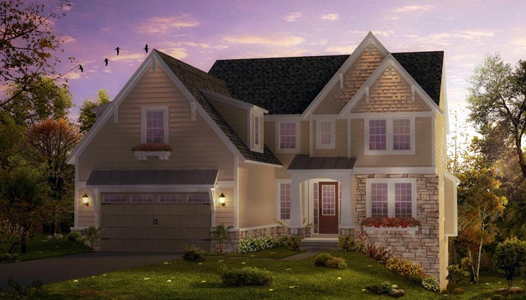 Coastal , Craftsman , European , Traditional , Elevation of Plan 42819