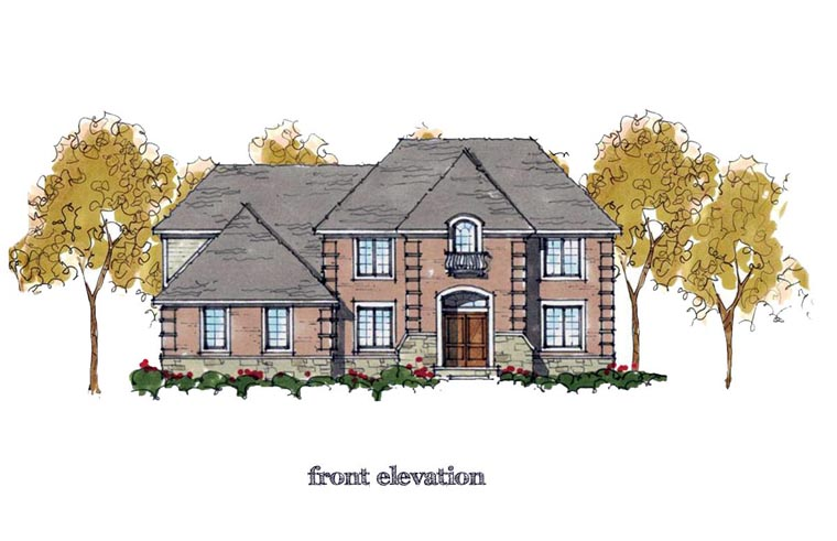 Colonial, European, Traditional House Plan 42823 with 4 Beds, 4 Baths, 3 Car Garage Front Elevation