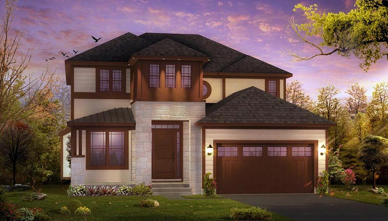 Contemporary House Plan 42839 with 3 Beds, 3 Baths, 2 Car Garage Elevation