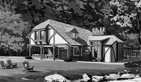 Tudor House Plan 43003 with 2 Beds, 2 Baths Front Elevation