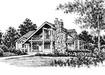 Cabin House Plan 43004 with 3 Beds, 2 Baths Front Elevation