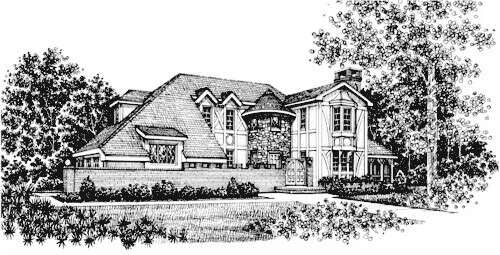 European Tudor Victorian House Plan 43012 Elevation