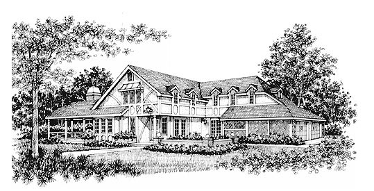 House Plan 43014 with 3 Beds, 3 Baths, 2 Car Garage Elevation