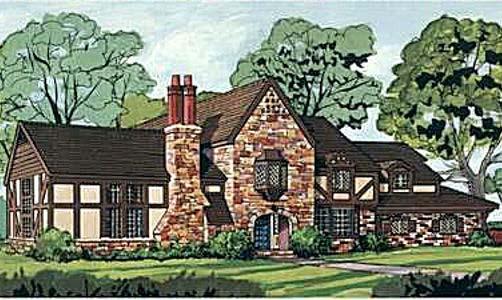 European Tudor Tuscan House Plan 43030 Elevation