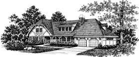 European Tudor House Plan 43039 Elevation